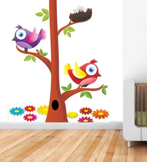 buy print mantras wall stickers beautiful birds and nest on a tree