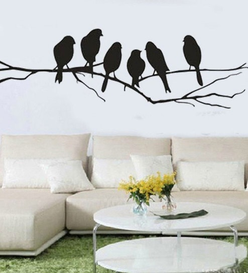 Buy print mantras wall stickers beautiful black sparrows on branches wall stickers beautiful black sparrows on branches by print mantras thecheapjerseys Gallery