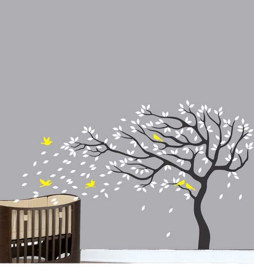 Wall Stickers Big Beautiful Black Tree White Leaves Yellow Birds By Print  Mantras Part 72