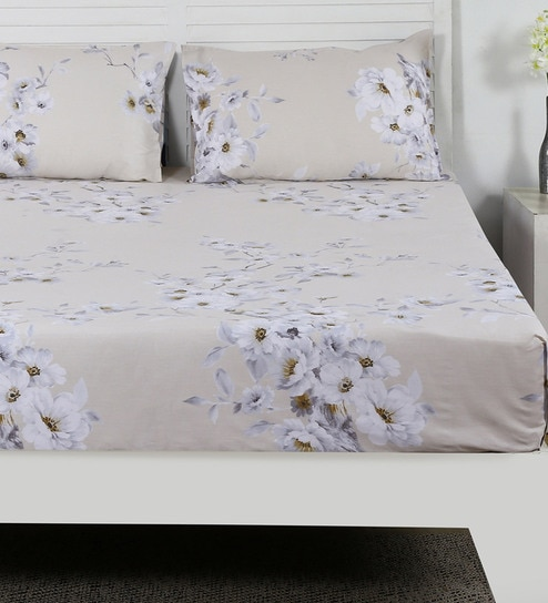 Floral Pattern 210TC Cotton Queen Size Bed Sheet With 2 Pillow Covers By  Maspar