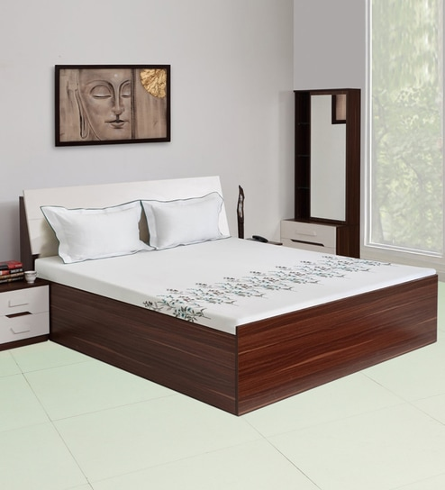 Buy Pristina Queen Size Bed With Hydraulic Storage In Walnut