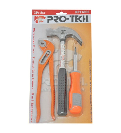 Pro-Tech Steel Protect Water Pump Plier, Claw Hammer & 6 Inch Adjustable Wrench Combo