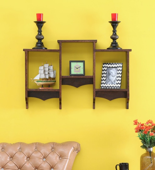 Buy Boxy Wall Shelf in Provincial Teak Finish By Salawas Art & Craft ...