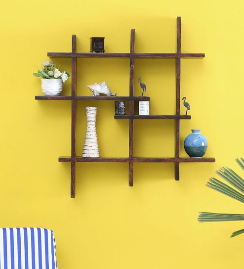 Buy Solid Wood Hand-Made decorative Wall Shelf in Provincial Teak ...