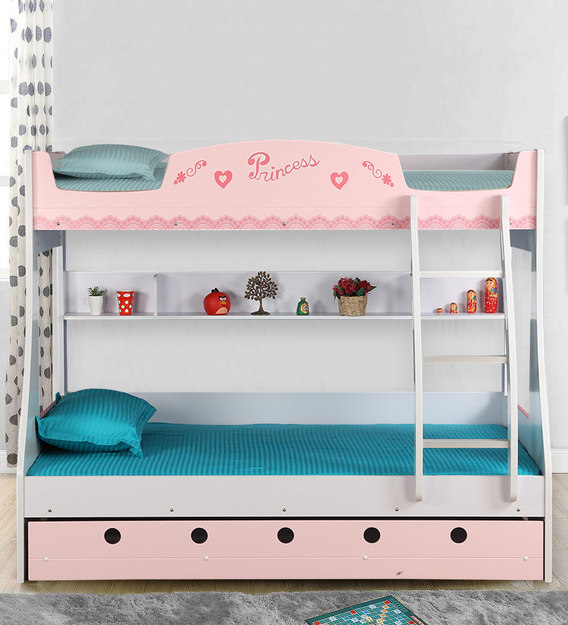 Buy Princess Bunk Bed In Pink White Finish By Hometown Online Trundle Bunk Beds Bunk Beds Kids Furniture Pepperfry Product