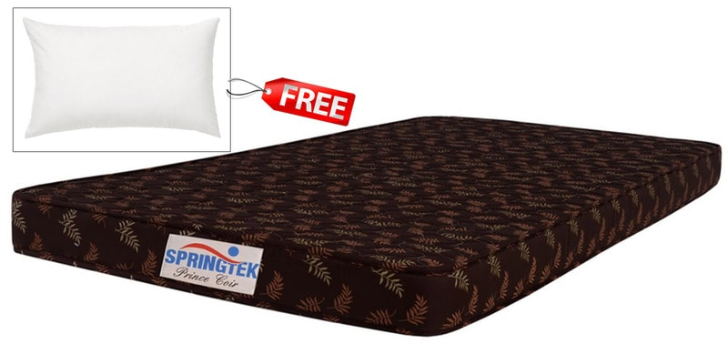 Prince Queen Size (75x60) 4 Inches Thick Coir Mattress (Pillow Free) by Springtek Ortho Coir