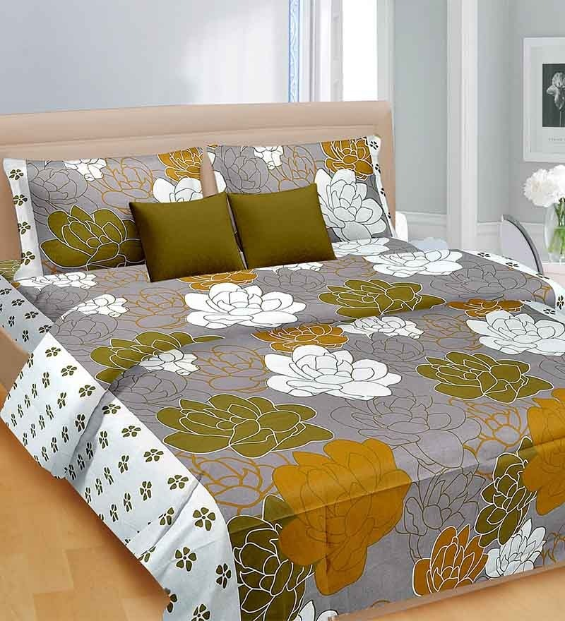 Brazen Green Cotton Bed Sheet - Set of 3 by Cortina