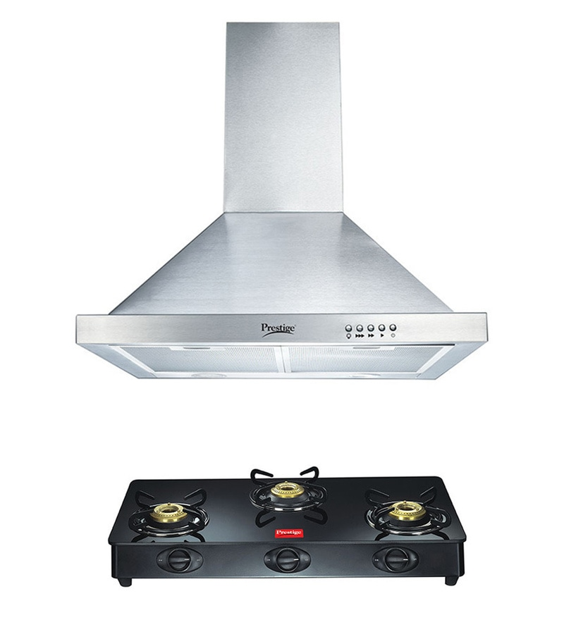 Prestige 60 cm Hood Chimney & 3 Burner Glass Cooktop