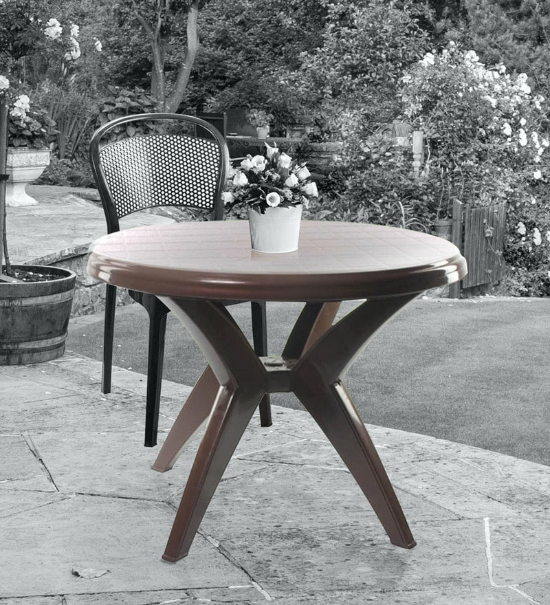 Presto 2 Seater Plastic Dining Table in Pearl Brown Colour