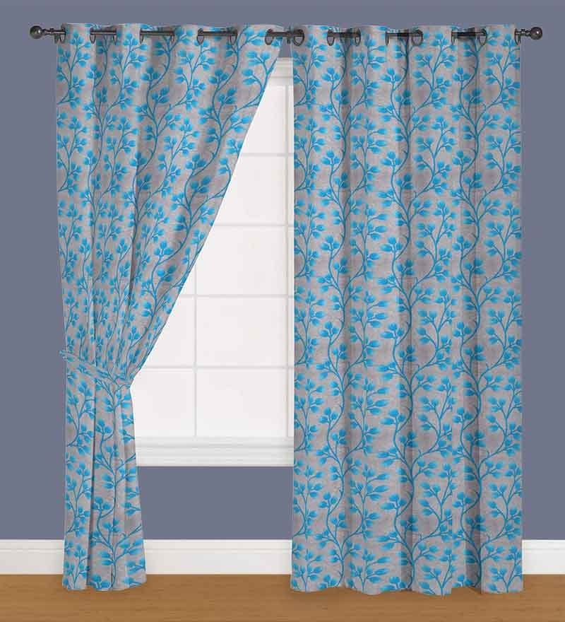 Blue Polyester 60 x 40 Inch Floral Eyelet Window Curtain - Set of 2 by Presto