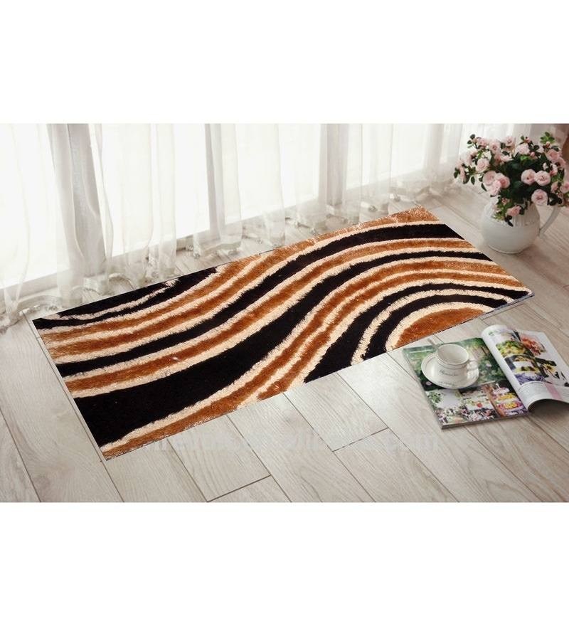 Brown & Gold Polyester 55 x 22 Inch Abstract Bedside Runner by Presto