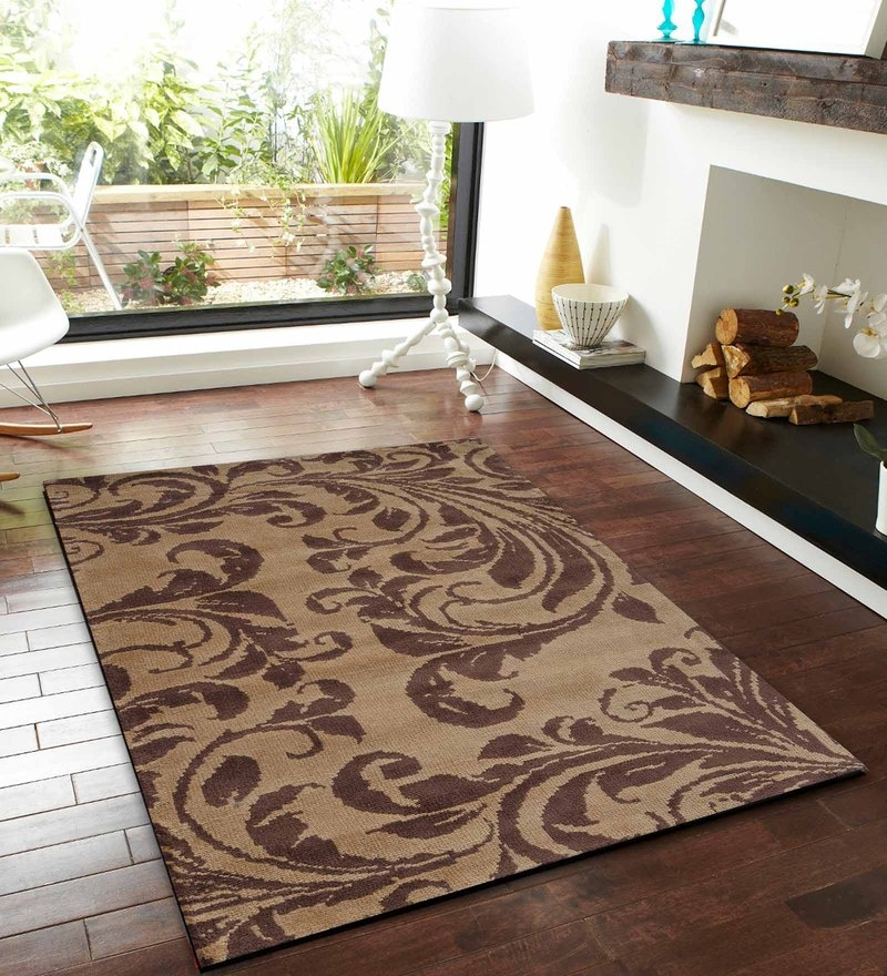 Brown and Gold Polyester Abstract Patterns Carpet by Presto