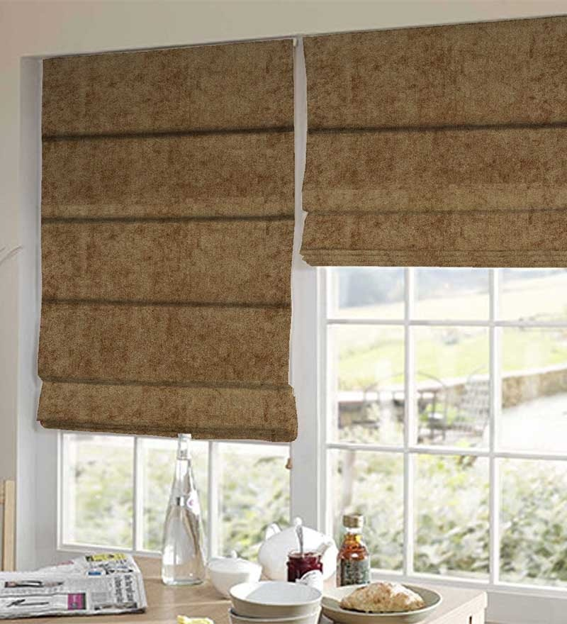 Brown Polyester Solid Window Blind by Presto