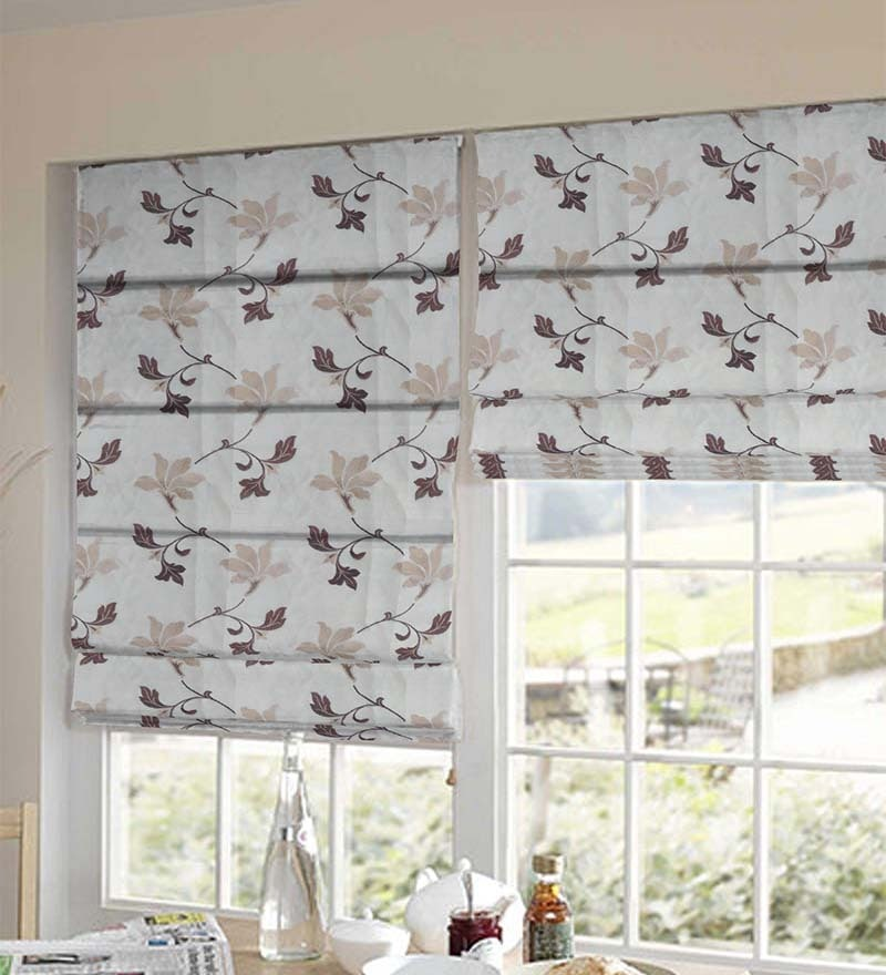 Brown Polyester Floral Window Blind by Presto