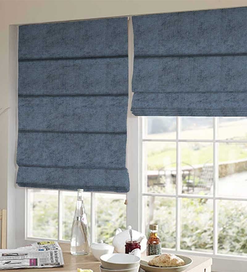 Blue Polyester Solid Window Blind by Presto