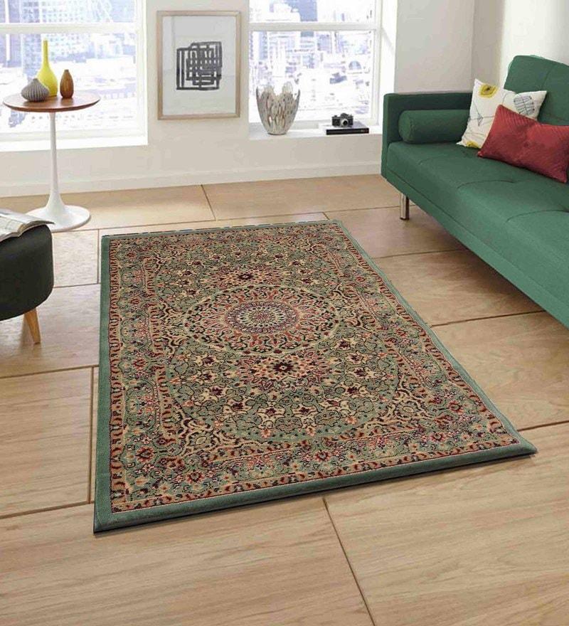 Presto Green Polypropylene Tufted Hand Knotted Ethnic Carpet
