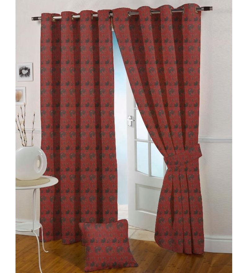 Red Polyester 108 x 46 Inch Floral Eyelet Door Curtain - Set of 2 by Presto