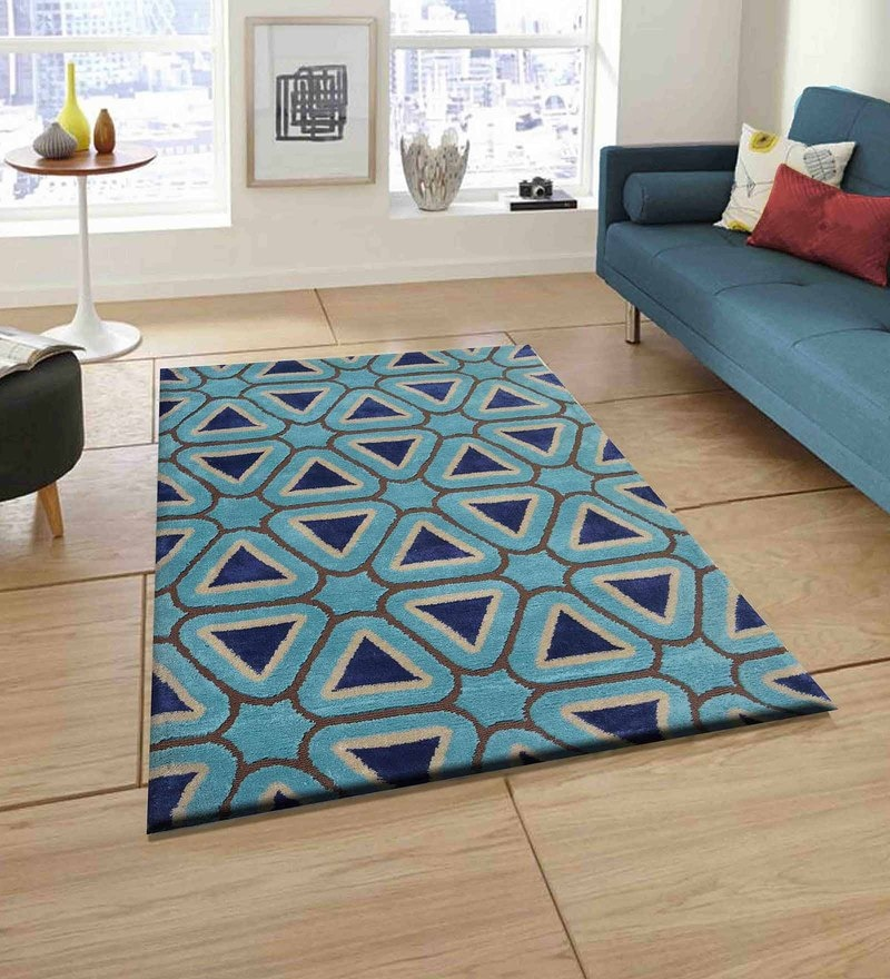 Presto Multicolour Polyester Tufted Hand Knotted Abstract Carpet