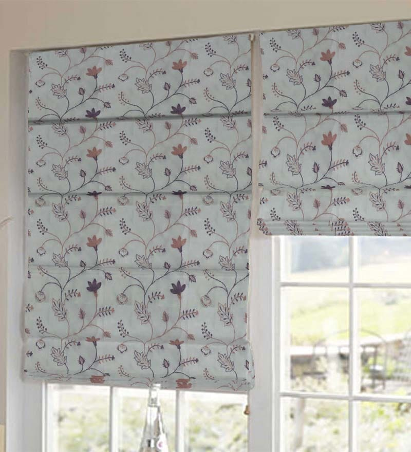 Multicolour Floral Tissue Embroidered Window Blind by Presto