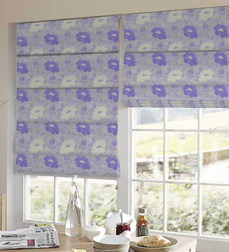 Purple Polyester Attractive Floral Window Blind by Presto