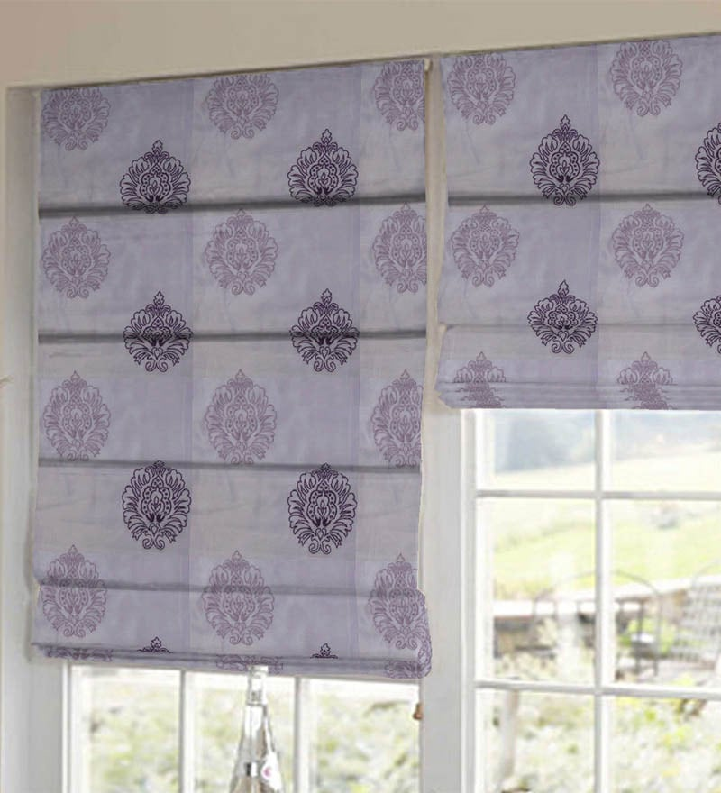 Purple Polyester Embroidered Window Blind by Presto