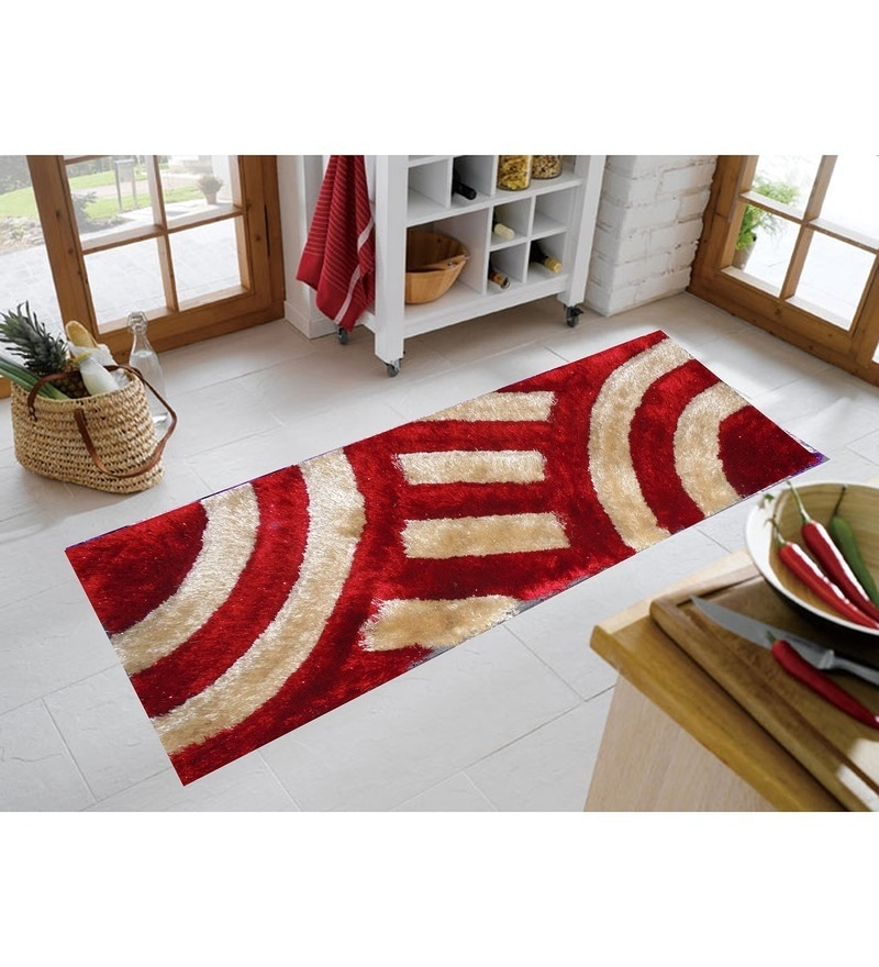 Red & White Polyester 55 x 22 Inch Abstract Bedside Runner by Presto
