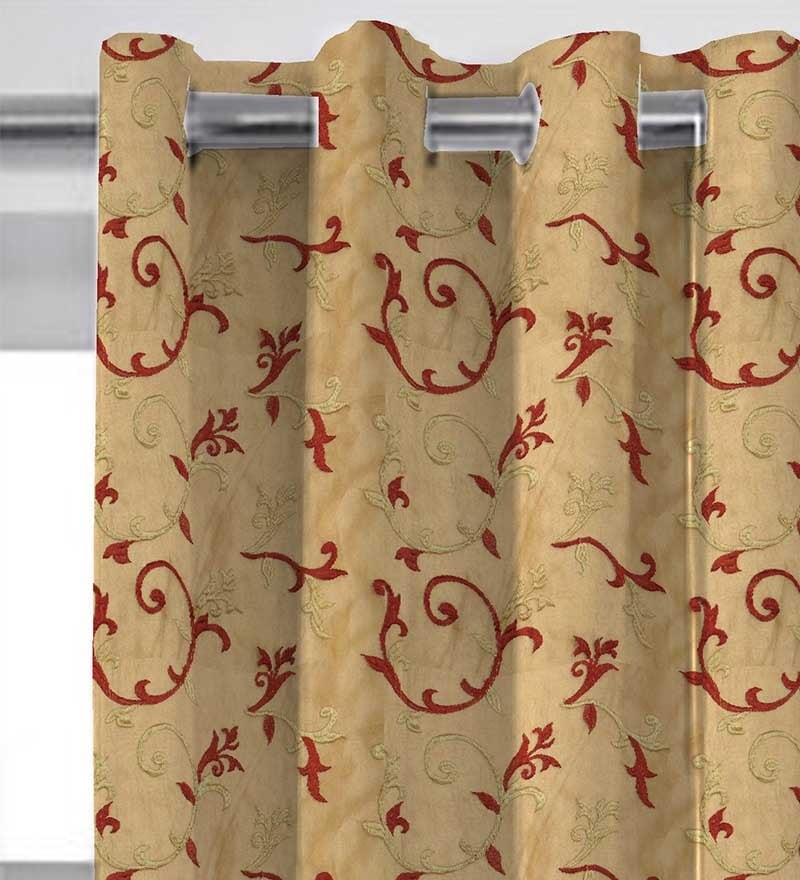 Red & Gold Polyester 84 x 46 Inch Lining Door Curtain by Presto