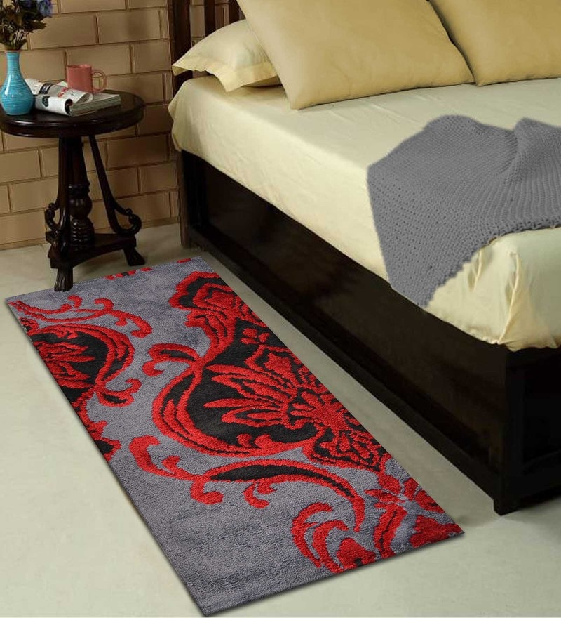 Red Polyester 22 x 55 Inch Abstract Runner by Presto