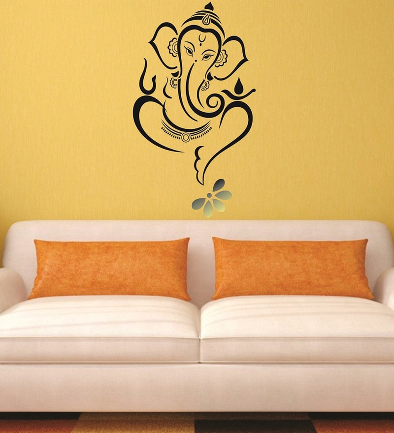 Beautiful God Ganesha and Flower PVC Wall Sticker by Print Mantras