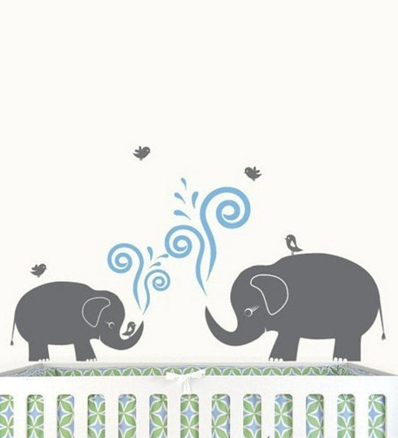 Cute Mom and Baby Elephant and Birds Wall Sticker by Print Mantras