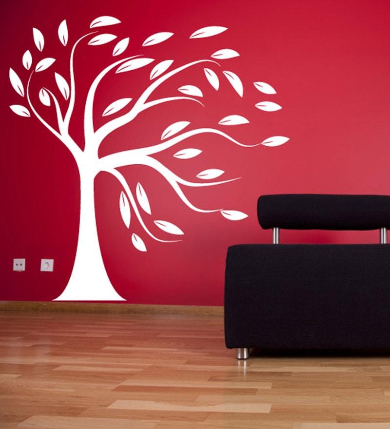 buy print mantras wall stickers beautiful big white tree online