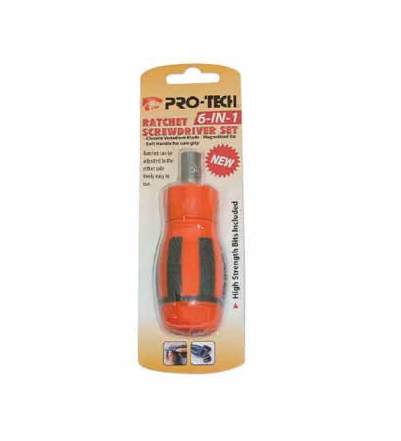 Pro-Tech Steel 2 x 5 Inch 6 in 1 Ratchet Screw Driver Set