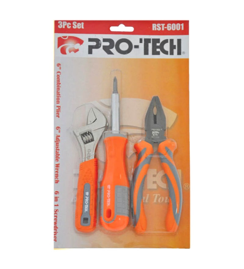 Pro-Tech Steel 6 in 1 Screwdriver Set, Combination Plier & Adjustable Wrench Combo