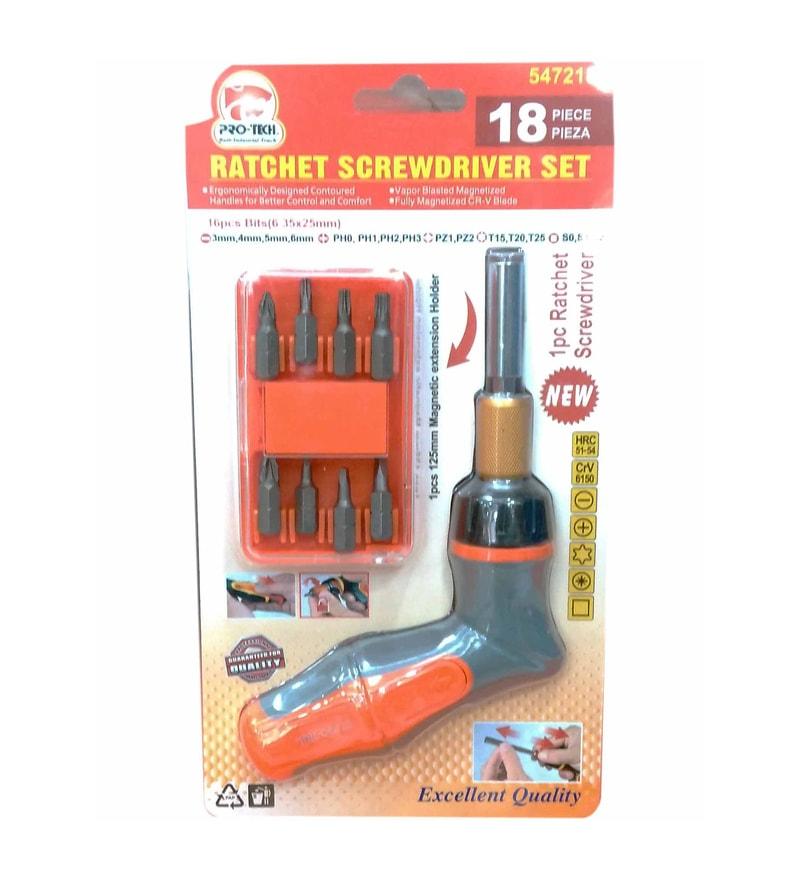 Pro-Tech Steel Ratchet Screw Driver Set - Set of 18