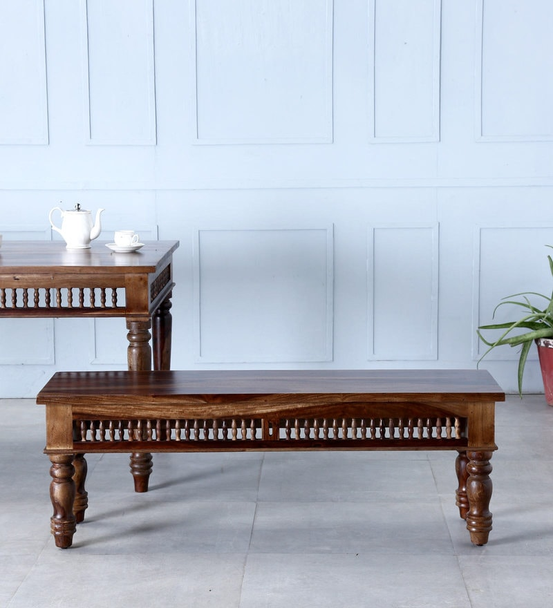 Taksh Handcrafted Bench in Provincial Teak Finish by Mudramark