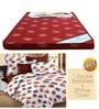 Maroon Foam Mattress with Free 100% Cotton Queen White Bedsheet Set by Story@Home