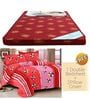 Maroon Foam Mattress with Free 100% Cotton Queen Red Bedsheet Set by Story@Home