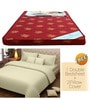Maroon Foam Mattress with Free 100% Cotton Queen Cream Bedsheet Set by Story@Home