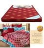 Maroon Foam Mattress with Free 100% Cotton Queen Maroon Bedsheet Set by Story@Home