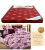 Maroon Foam Mattress with Free 100% Cotton Queen Pink Bedsheet Set by Story@Home