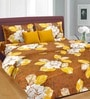 Golden Sunset Brown, Gold & White Cotton Double Bed Sheet (with Pillow Covers) by Cortina