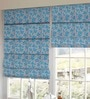 Aqua Polyester Floral Printed Blind by Presto