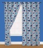 Presto Blue Polyester 60 x 40 Inch Floral Eyelet Window Curtain - Set of 2