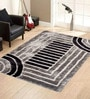 Presto Black And Gray Polyester Geometrical Shaggy Area Rug