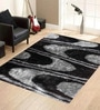 Presto Black And Grey Polyester Abstract Shaggy Area Rug