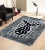 Black And Grey Polyester Abstract Shaggy Area Rug by Presto