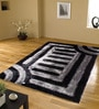 Black And Grey Polyester Geometrical Shaggy Area Rug by Presto