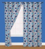 Presto Blue Polyester Curtain - Set of 2