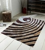 Brown And Beige Polyester Abstract Shaggy Area Rug by Presto