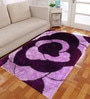 Purple And Pink Polyester Floral Shaggy Area Rug by Presto